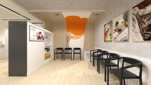 diseño sala espera clinica veterinaria